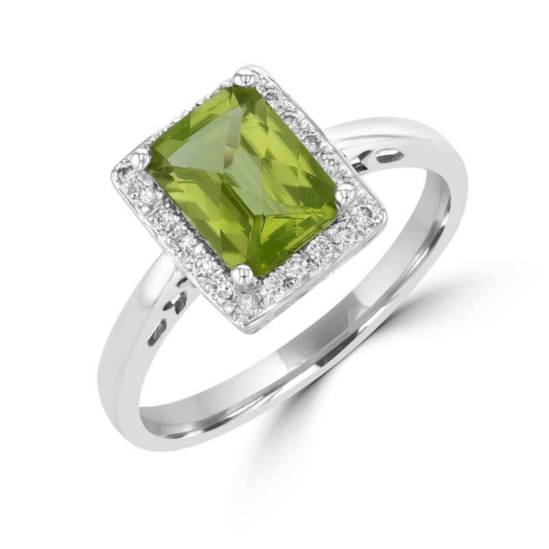 6X8 EMERALD CUT PERIDOT SURROUNDED BY DIAMOND RING