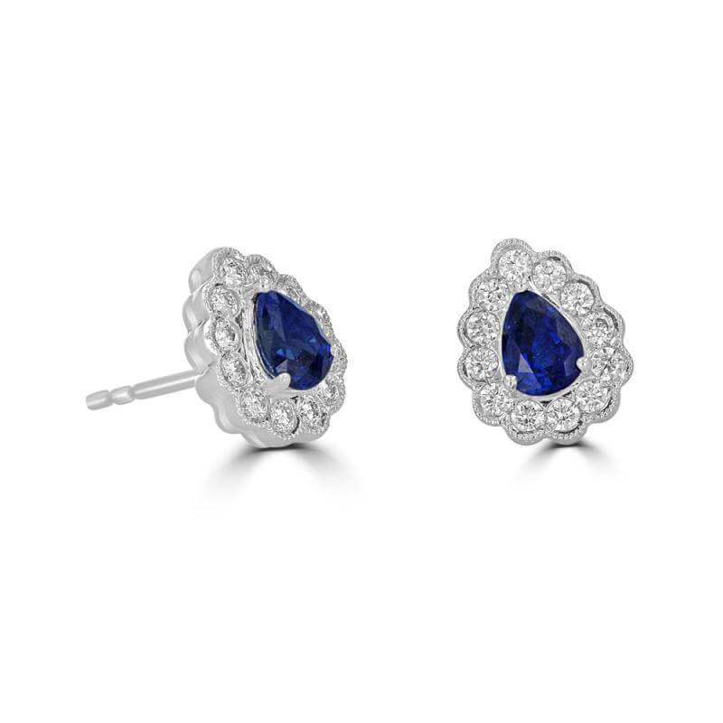 4X5 PEAR SAPPHIRE SURROUNDED BY DIAMOND EARRING
