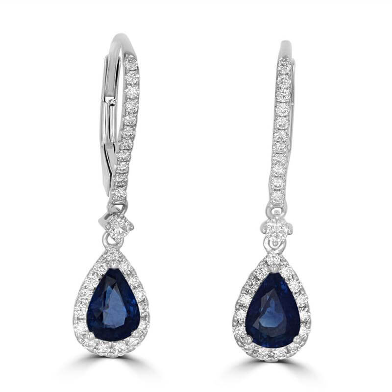 PEAR SAPPHIRE AND ROUND DIAMOND DROP EARRINGS