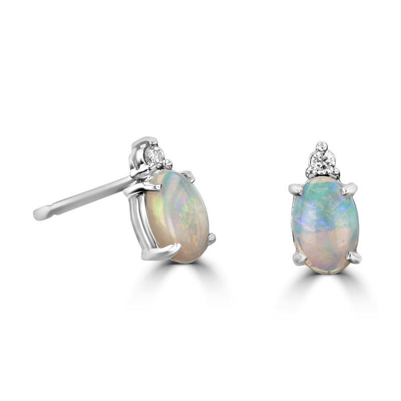 4X6 OVAL OPAL AND ONE DIAMOND ON TOP EARRINGS