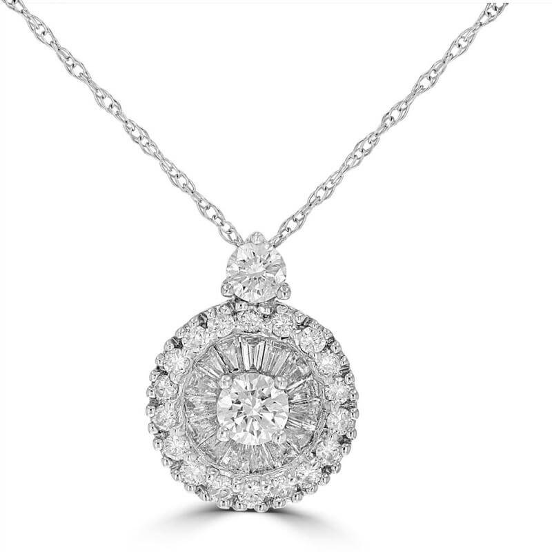 ROUND & BAGUETTE DIAMOND WHEEL PENDANT (CHAIN NOT INCLUDED)
