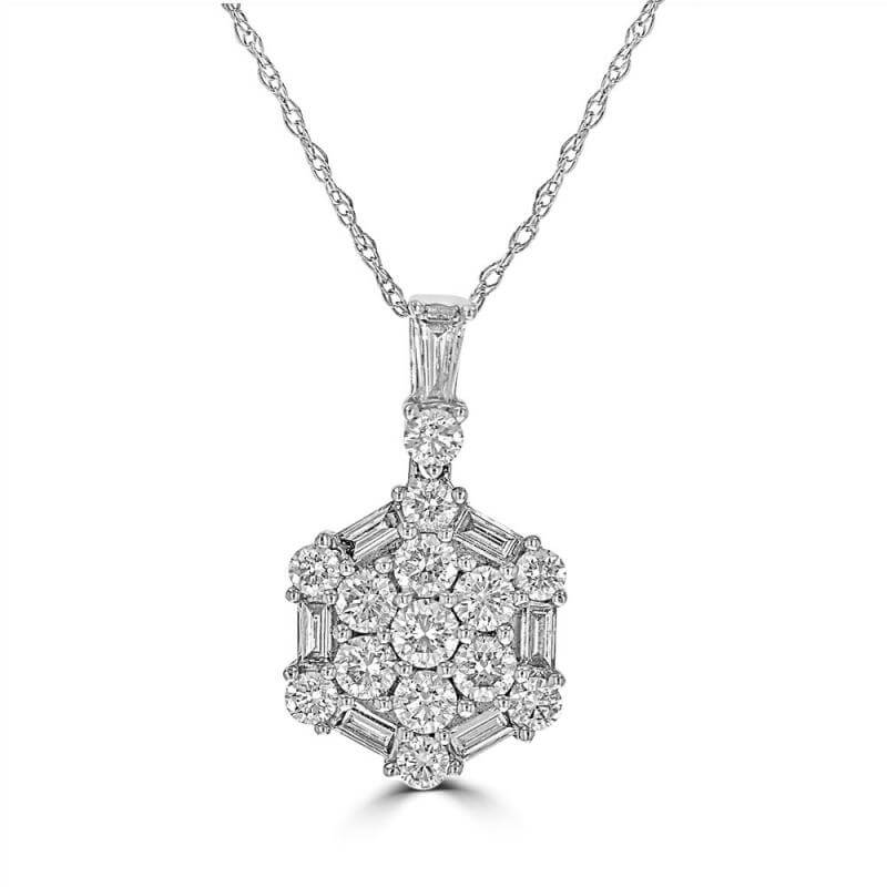 ROUND & BAGUETTE DIAMOND PENDANT (CHAIN NOT INCLUDED)