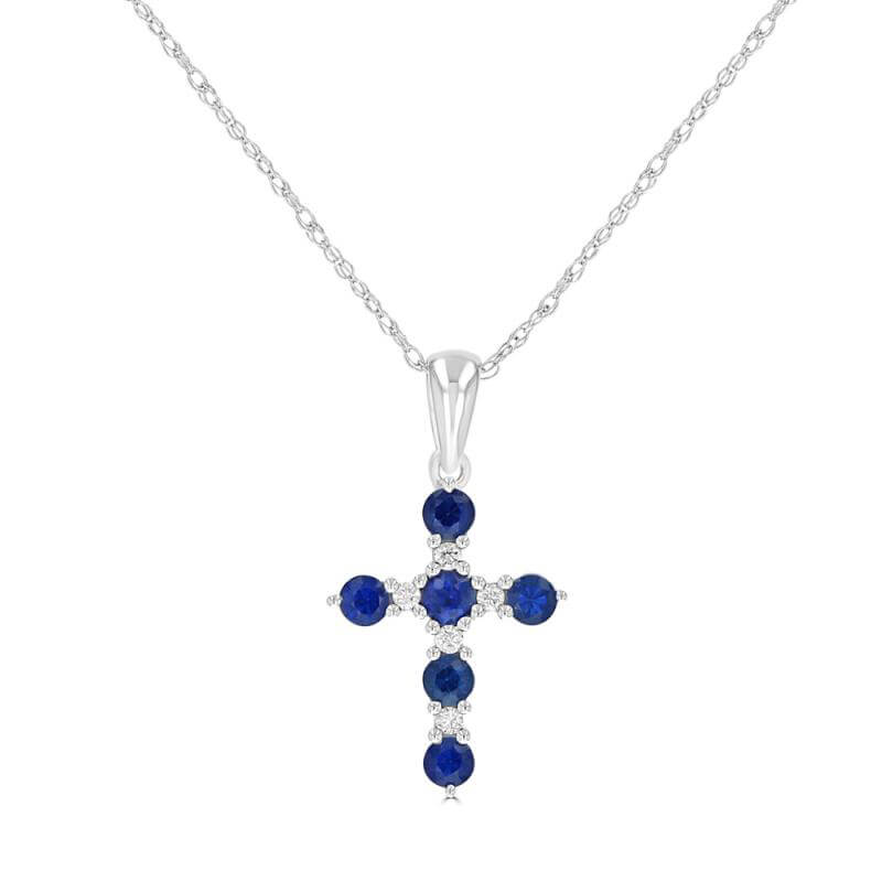 ROUND SAPPHIRE AND ROUND DIAMOND CROSS - SMALL SIZE (CHAIN NOT INCLUDED0