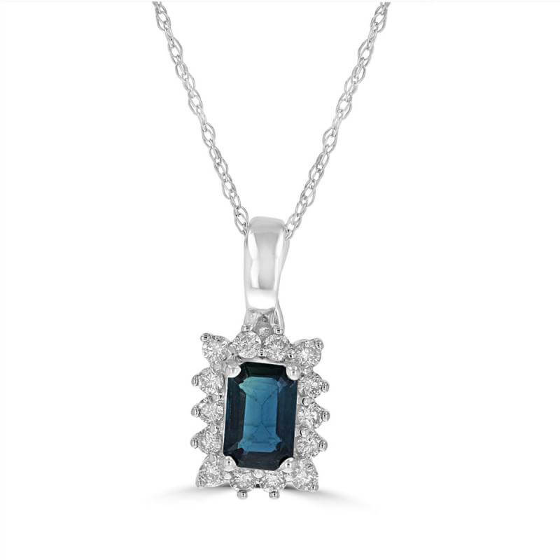 EMERALD CUT SAPPHIRE SURROUNDED BY DIAMOND PENDANT (CHAIN NOT INCLUDED)
