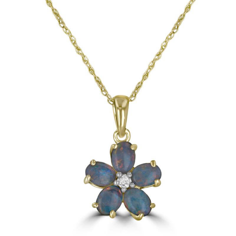 OVAL OPAL & DIAMOND FLOWER PENDANT (CHAIN NOT INCLUDED)