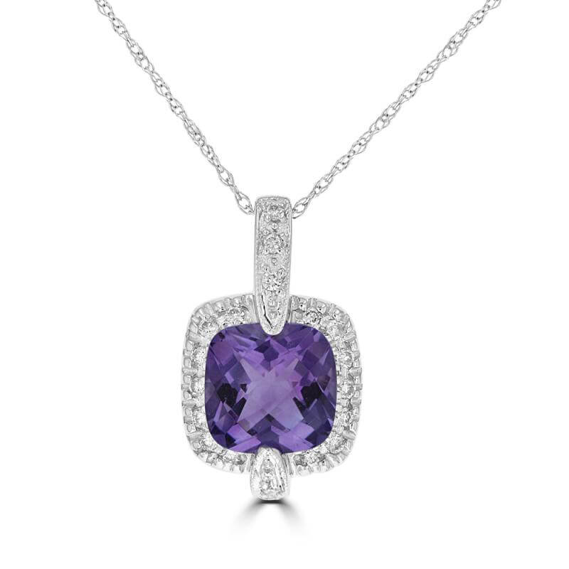 8MM CUSHION AMETHYST SURROUNDED BY DIAMOND PENDANT