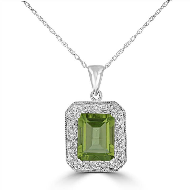 7X9 BAGUETTE PERIDOT & ROUND DIAMOND PENDANT (CHAIN NOT INCLUDED)