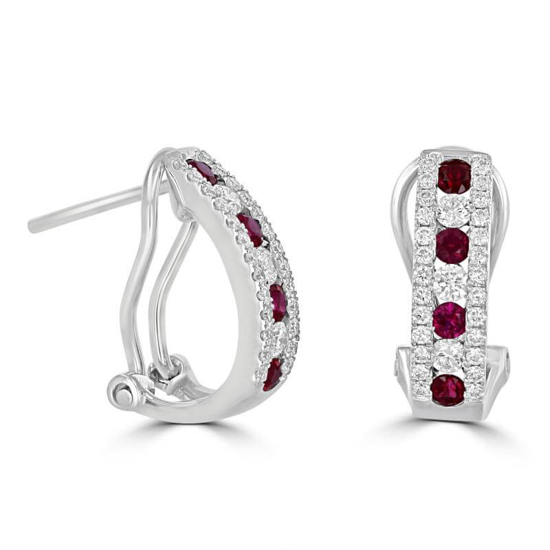 ROUND RUBY & ROUND DIAMOND OMEGA BACK HOOP EARRINGS