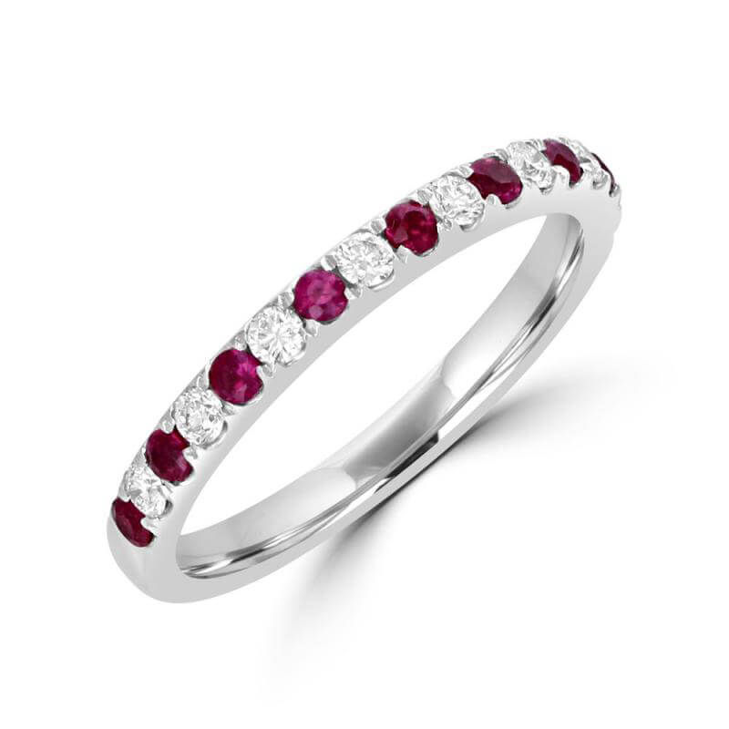 ROUND RUBY AND ROUND DIAMOND PRONG BAND