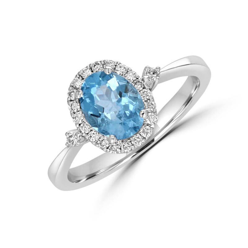 6X8 OVAL AQUAMARINE HALO WITH ONE DIAMOND ON EACH SIDE RING