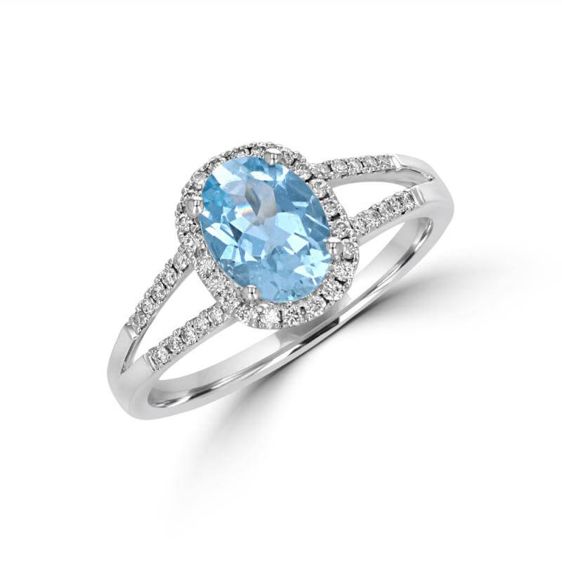 6X8 OVAL AQUAMARINE HALO WITH TWO ROWS ROUND DIAMONDS ON SHANK RING