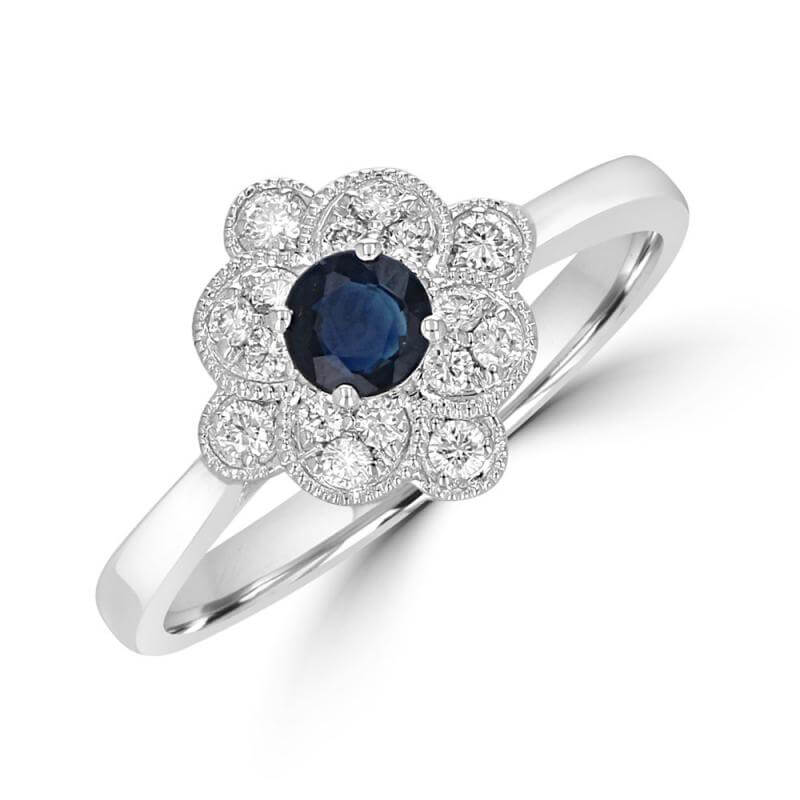 4MM ROUND SAPPHIRE SURROUNDED BY DIAMONDS RING