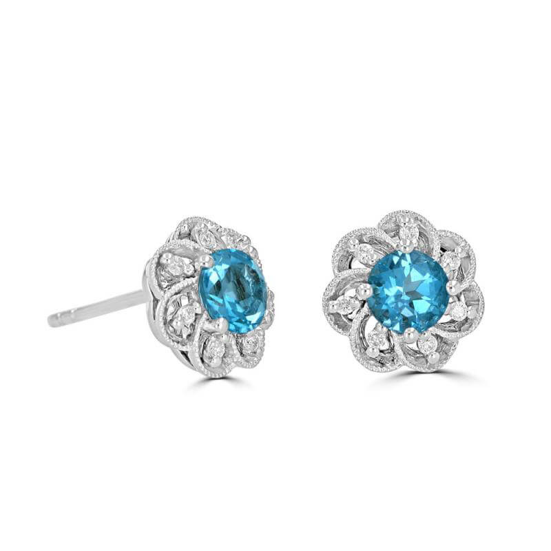 5MM ROUND BLUE TOPAZ WITH DIAMONDS FLORAL LOOK EARRINGS