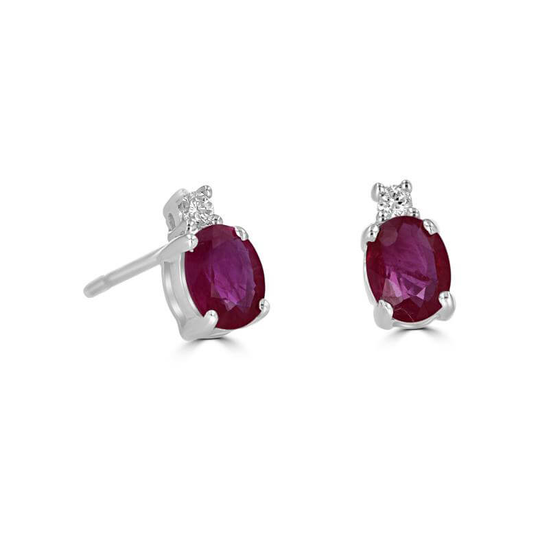 4X5 OVAL RUBY WITH ONE DIAMOND ON TOP EARRINGS