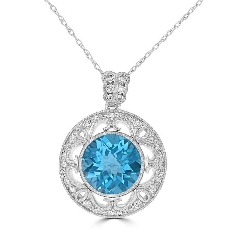 ROUND CHECKERED BLUE TOPAZ VINTAGE STYLE PENDANT (CHAIN NOT INCLUDED)