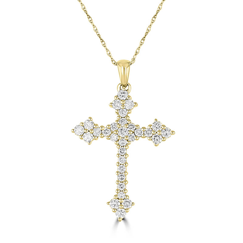 ROUND DIAMOND POINTED CROSS PENDANT (CHAIN NOT INCLUDED)