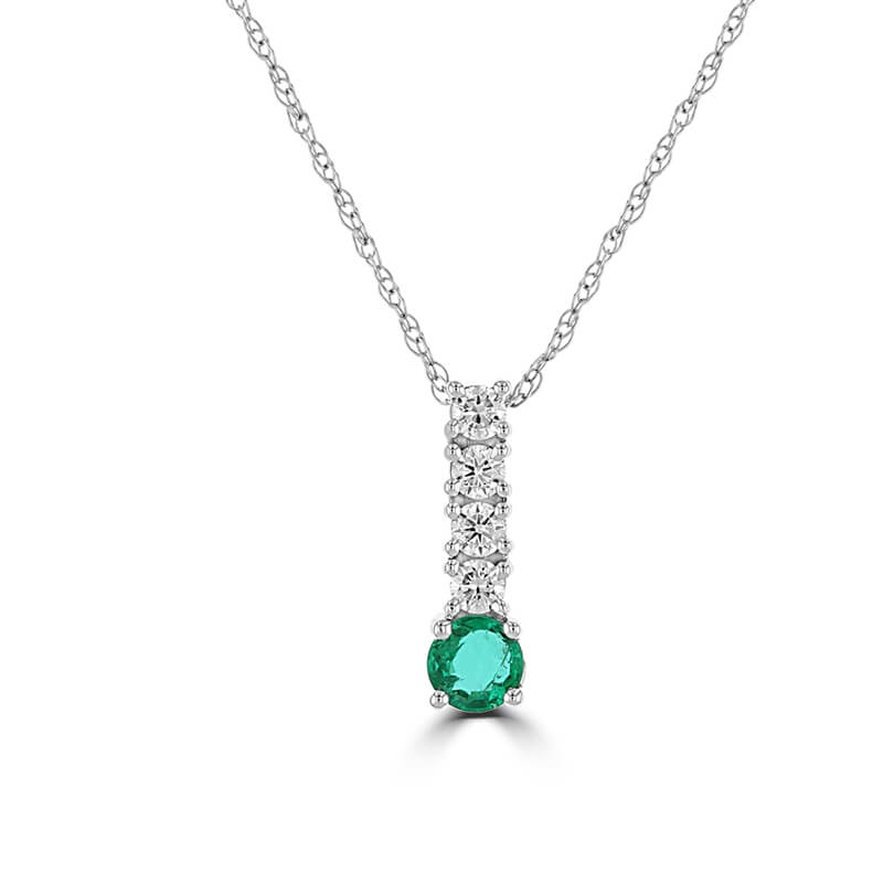 3.5MM ROUND EMERALD & 4 ROUND DIAMOND PENDANT (CHAIN NOT INCLUDED)