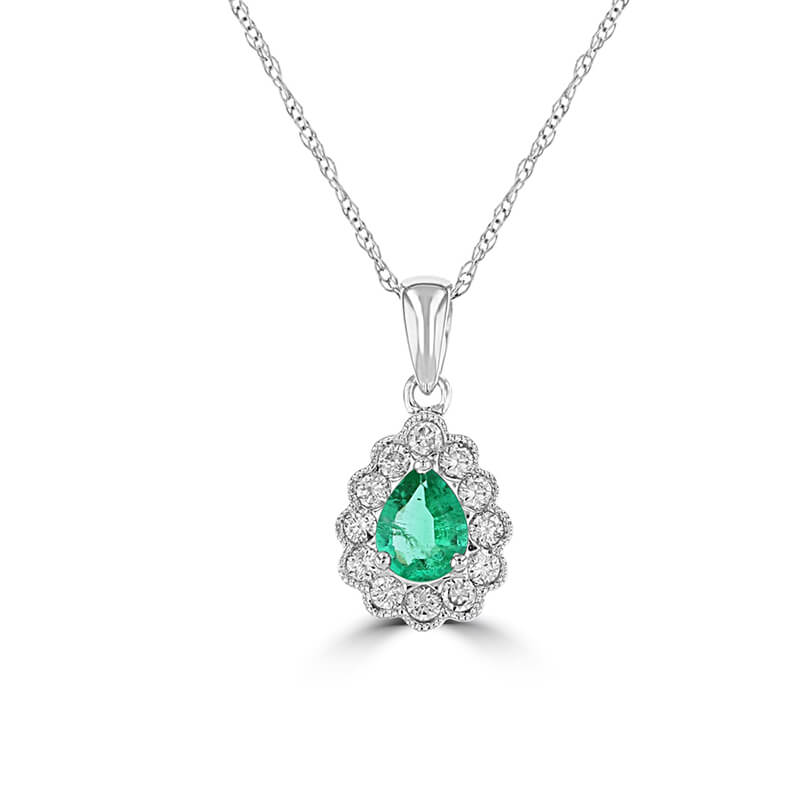 PEAR EMERALD SURROUNDED BY DIAMOND PENDANT (CHAIN NOT INCLUDED)