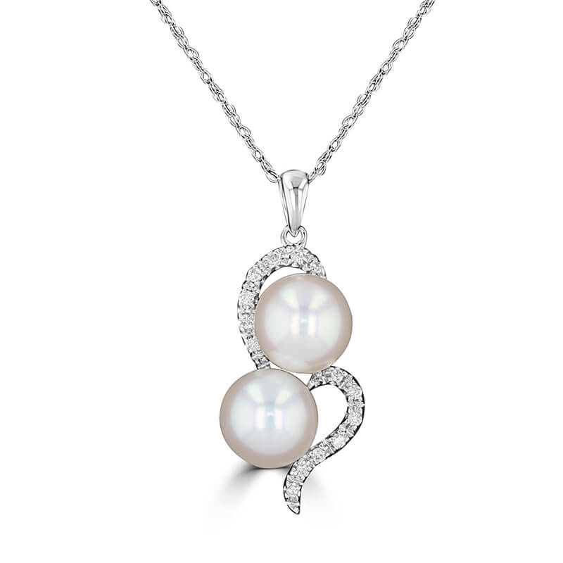 7-7.25MM FRESHWATER PEARL AND DIAMOND PENDANT (CHAIN NOT INCLUDED)