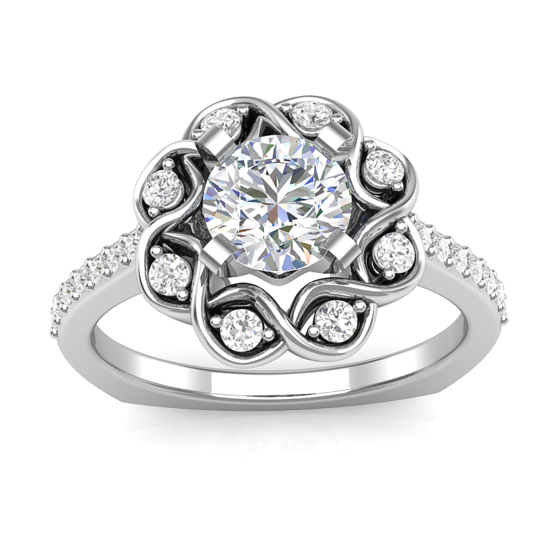 Swirl Halo Engagement Ring w/ Adjustable Head - Available in Multiple Sizes