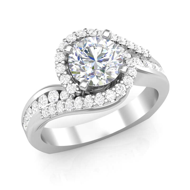 Swirl Halo Diamond Engagement Ring w/ Adjustable Head - Available in Multiple Sizes