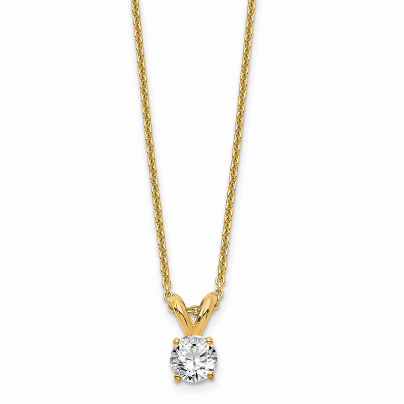 14ky 1/4ct. Round Lab Grown Diamond VS/SI; D E F; Solitaire Necklace