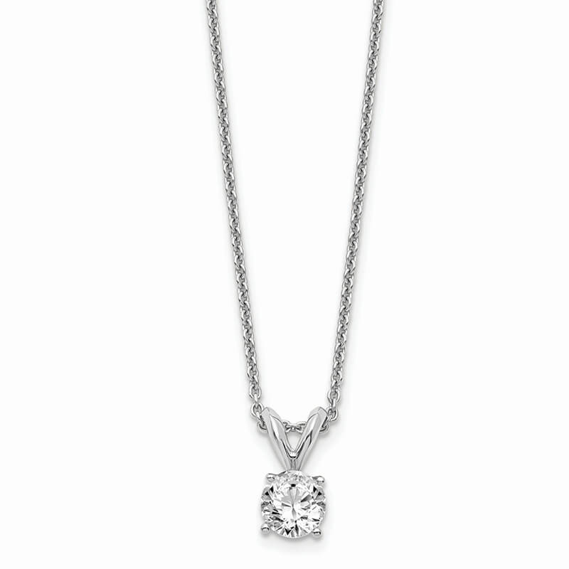 14kw 1/3ct. Round Lab Grown Diamond SI1/SI2; J; Solitaire Necklace