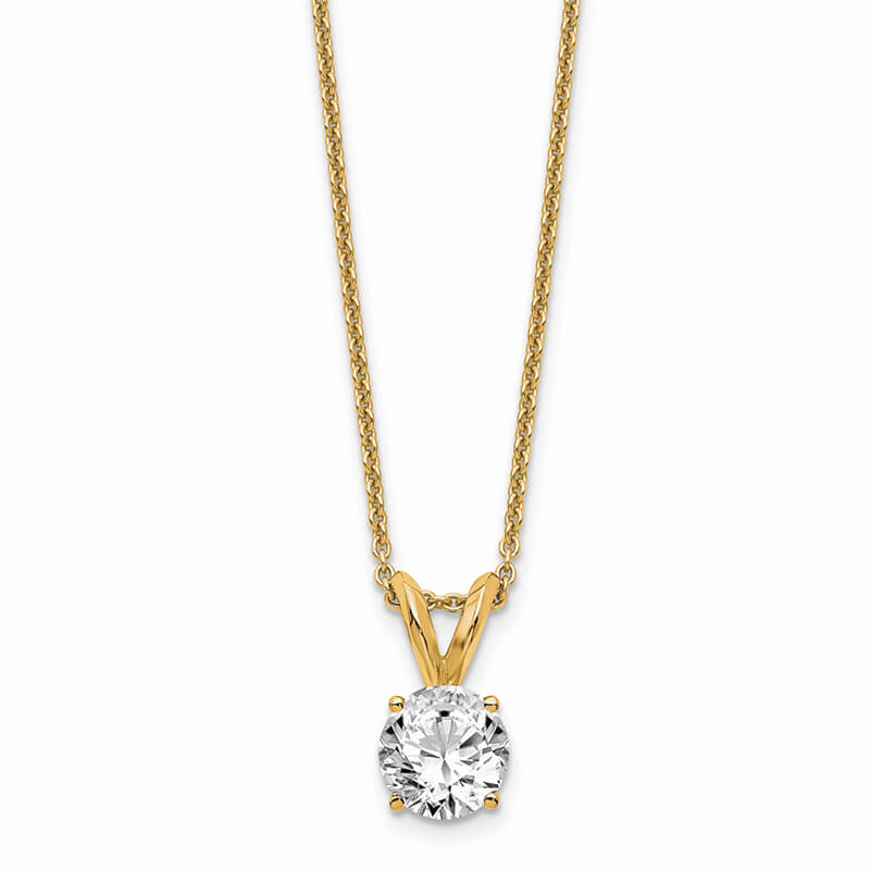 14ky 1/2ct. Round Lab Grown Diamond VS/SI; D E F; Solitaire Necklace