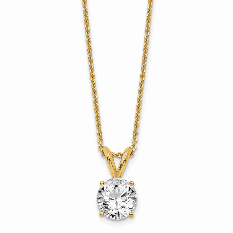 14ky 3/4ct. Round Lab Grown Diamond SI1/SI2; G H I; Solitaire Necklace
