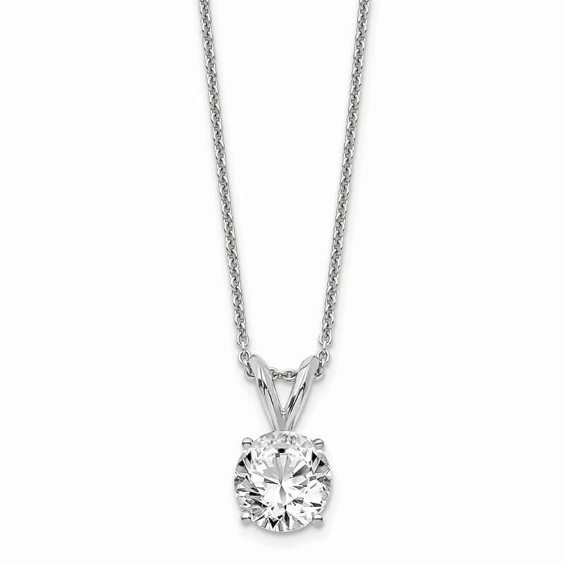 14kw 3/4ct. Round Lab Grown Diamond SI1/SI2; J; Solitaire Necklace