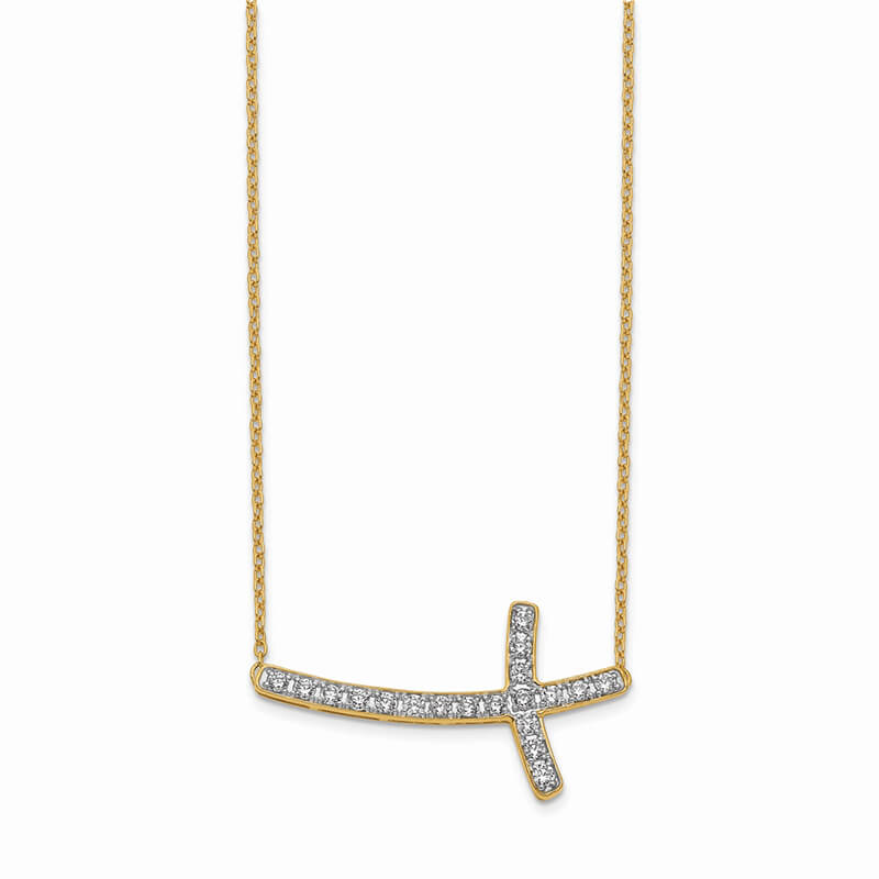 14K Lab Grown Diamond SI1/SI2; G H I; Sideways Cross 18in Necklace