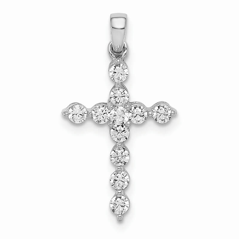 14kw Lab Grown Diamond SI1/SI2; G H I; Cross Pendant