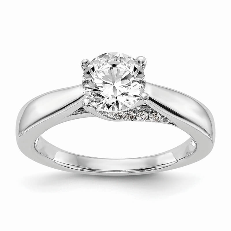 14kw Round Solitaire Diamond Semi-mount Engagement Ring