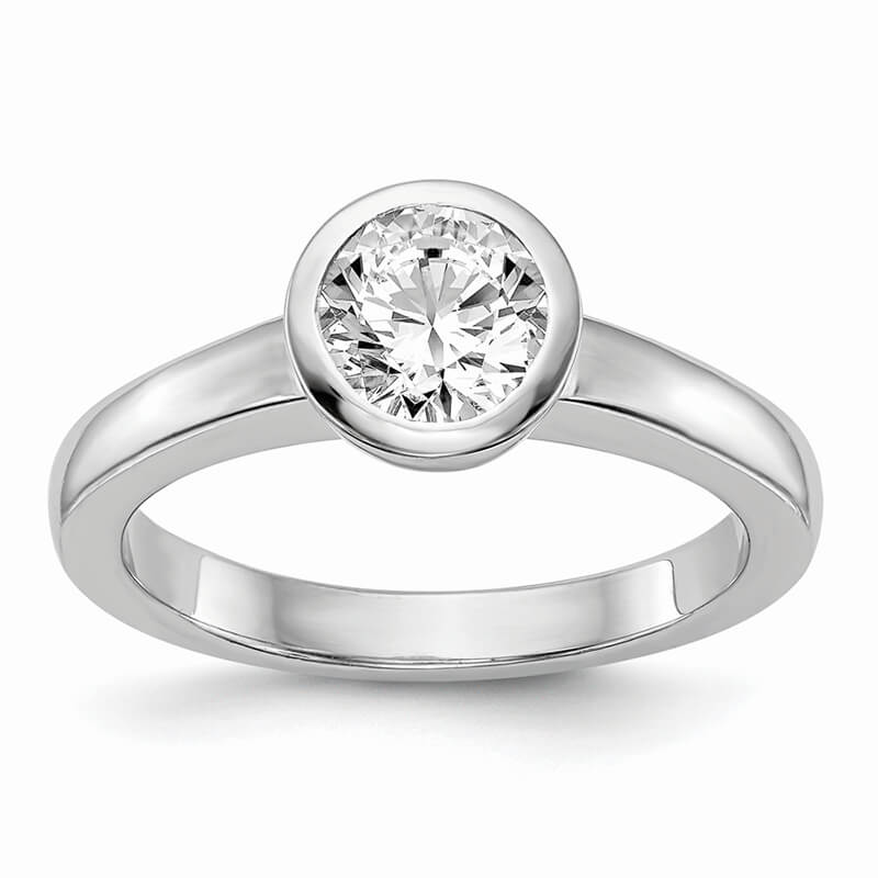 14kw Round Bezel Solitaire Engagement Ring Mounting