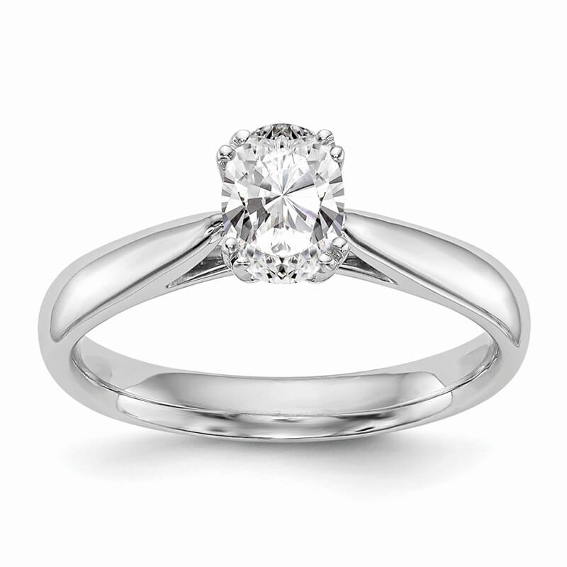 14kw Oval Solitaire Polished Engagement Ring Mounting