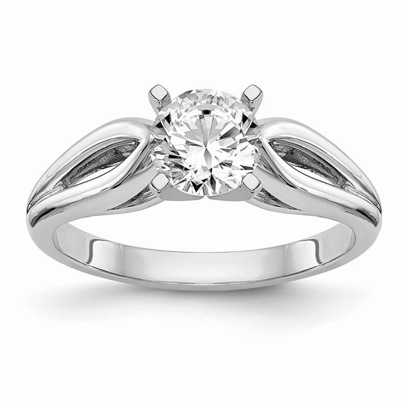 14k White Gold Peg Set Solitaire Engagement Ring Mounting
