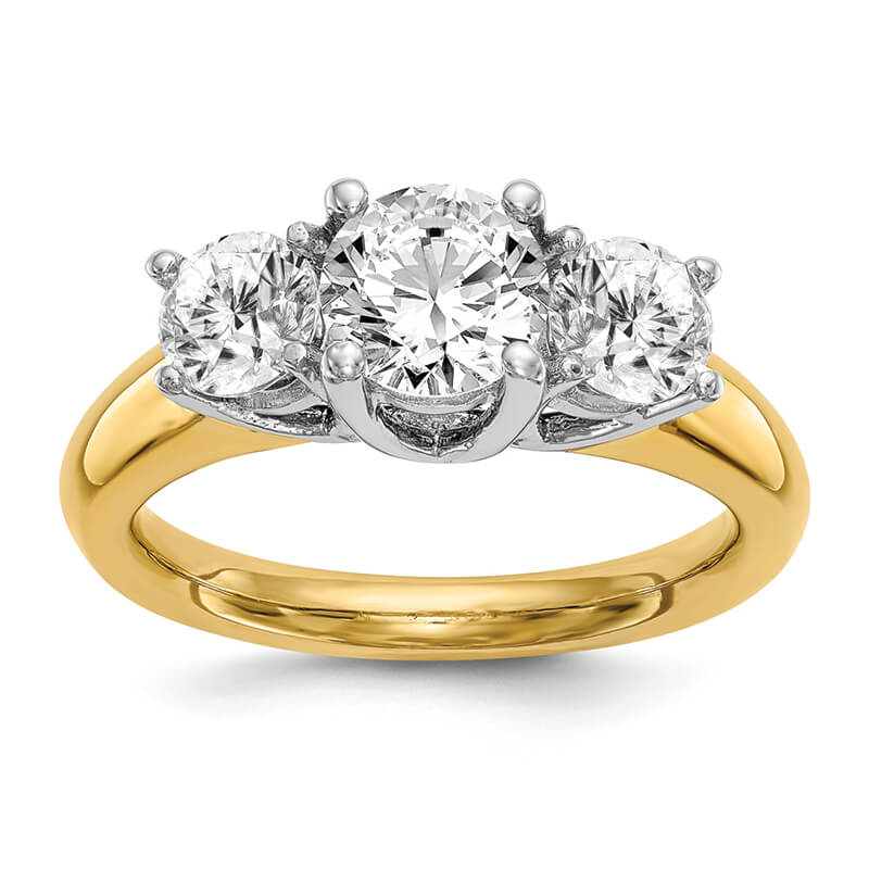 14K Two-tone 3-Stone Engagement Mounting