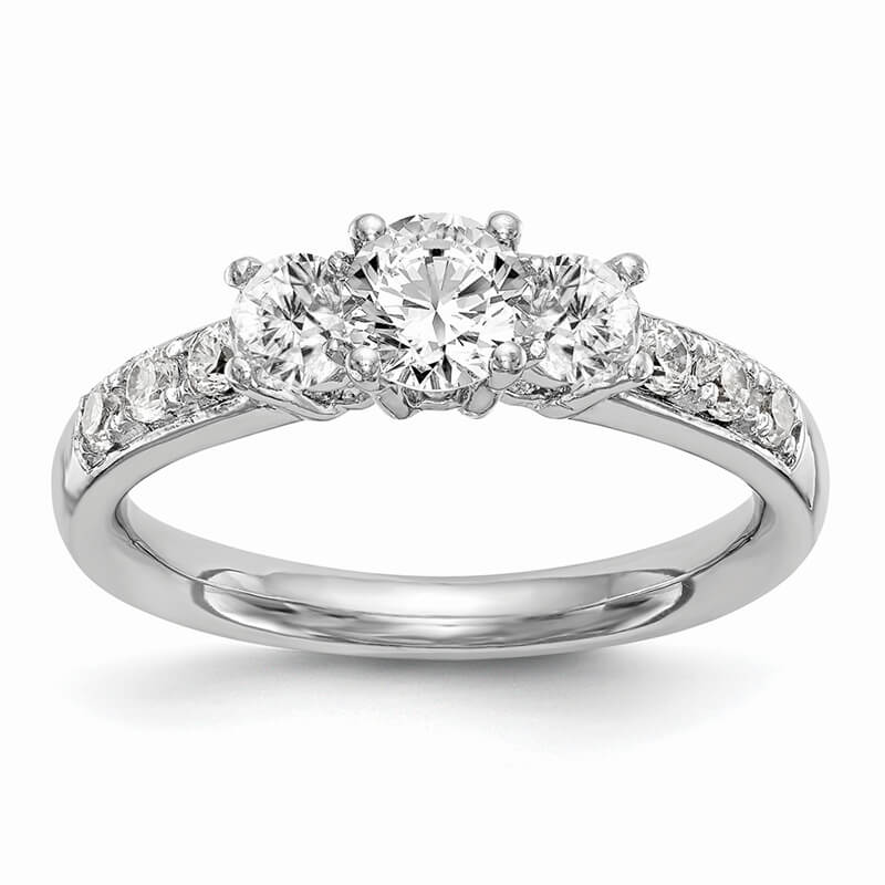 14K White Gold 3-Stone Diamond Semi-Mount Engagement Ring