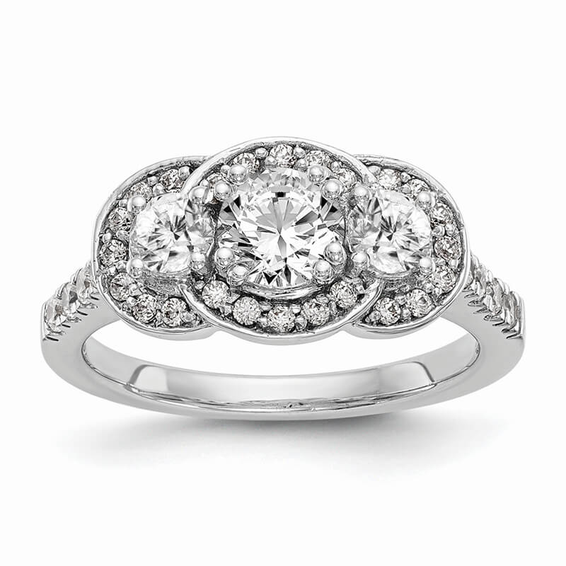 14K White Gold 3-Stone Engagement Ring Mounting