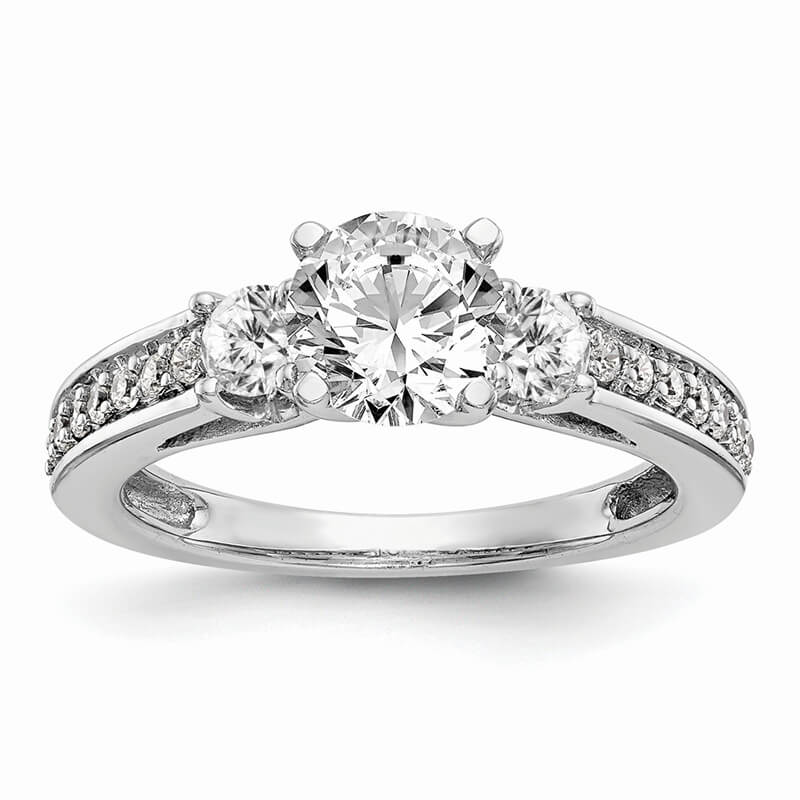 14K White Gold 3-Stone Diamond Peg Set Semi-mount Engagement Ring