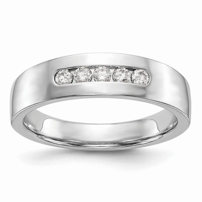 14kw 5-Stone Lab Grown Diamond SI1/SI2; G H I; Men's Channel Band